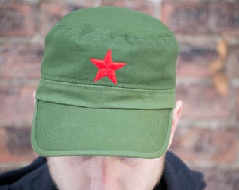 Vintage Red Star Military Embroidered Cap