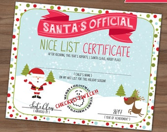 Nice List Certificate - Santa Claus - Making A List Checking It Twice - Letter From Santa - Wish List - Christmas - Instant - 8x10