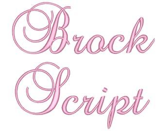 SALE 50% 3 Size Brock Script Embroidery Font, BX fonts Machine Embroidery Designs Embroidery Fonts - 9 File Fomats