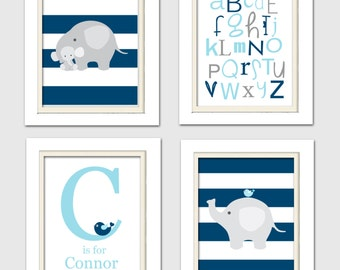 Nursery Quad, Blue and Grey Nursery, Camden nursery art, Elephant Nursery, Set of 4 8X10, Blue, Grey