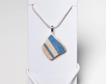 Blue & White Georgian Mochaware Necklace - Thames Pottery Pendant from London - Beach Porcelain Jewellery - Mudlark - Sea Beach Glass