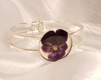 Purple Pansy- Silver Bracelet