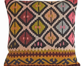 18x18 Kilim Pillow decorative pillows for couch, decorative pillows for bed, throw pillows, decorative pillow covers, decorative throw pillo