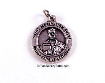 Saint Maximilian Kolbe Medal Patron Saint of Addicts, Journalists and Prisoners | Italian Rosary Parts