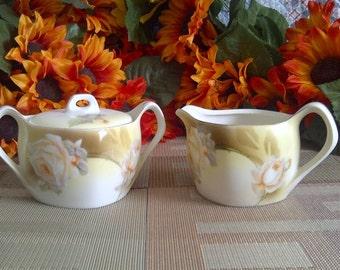 Vintage RS Germany Porcelain Covered Sugar Bowl And Creamer.