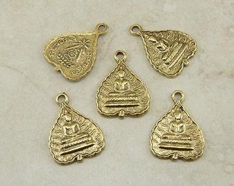 5 Buddha Buddhist Leaf Pendant Charms > Zen Peace Tranquility Yoga - Gold Tone American made Lead Free Pewter - I ship internationally