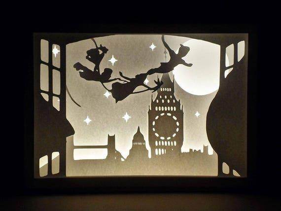 Paper Cut Silhouette Shadow Box Peter Pan