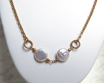 Freshwater Pearl Necklace- Gold Filled, Opera length