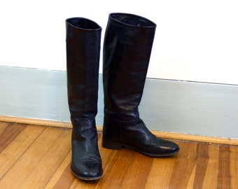 English Riding Boots, Tall leather boots, Black riding boots, Black Equestrian Boots, Ladies Riding boots, women's boots Sz 5.5 6, Euro 5.5