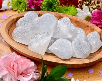 Etched Selenite Crystal Heart | Selenite Palmstone | Healing Crystals | Meditation | Metaphysical | Size Small