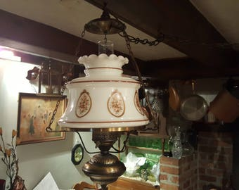 Vintge GWTW  Brass and Milk Glass Swag Lamp