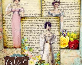 Jane Austen, Collage Sheet, Printable Ephemera, Digital Tags, Printable Download, Jane Austen Ephemera, Pride and Prejudice, CalicoCollage