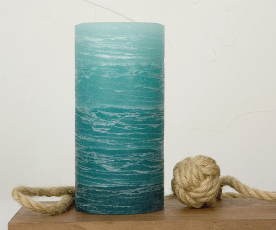 Teal Rustic Pillar Candle Layered Fade Style 3x6 or