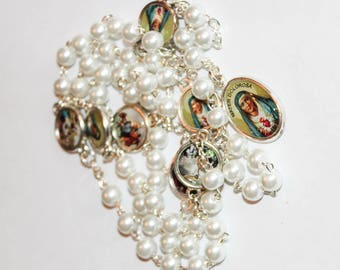 Servite rosary Our Lady of The seven sorrows White Pearl beads mater dolorosa chaplet of seven sorrrows dolor rosary