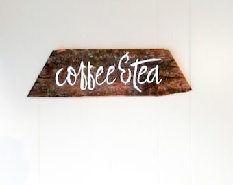 Coffee and tea handpainted sign - White coffee bar home decor - Cafe art - Secret Santa gift - Gift for best friend - Rustic cottage kitchen
