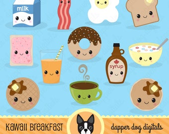 Kawaii Breakfast Food Clipart Pack - Commercial Use, Vector Images, Digital Clip Art, Digital Images