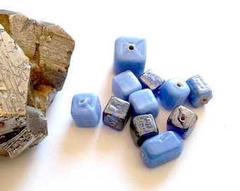 ONLY ONE AVAILABLE! Set of 20 spun and molded from India glass beads, blue squares
