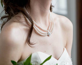 Bridal Statement Necklace Pearl, Great Gatsby Necklace, Pearl Swarovski Necklace, Chunky Swarovski Statement Necklace, Pearl Bridal Necklace