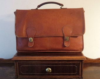 Etsy BDay Sale Coach Diplomat British Tan Double Gusseted Briefcase Attache Laptop Case- Made In The 'Factory' In New York City - VGC