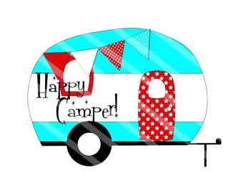 Camper Trailer Happy Camper Aqua Digital Download Printable for creating iron-ons, heat transfer, Scrapbooking, Cards, Tags, DIY, YOU PRINT