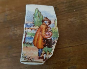 Vintage china brooch Father and son