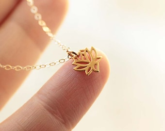 Tiny Lotus Necklace, Lotus Flower Charm, Tiny Charm Necklace, Dainty Yoga Necklace, Yoga Jewelry, Gold Filled, Sterling Silver, Rose Gold
