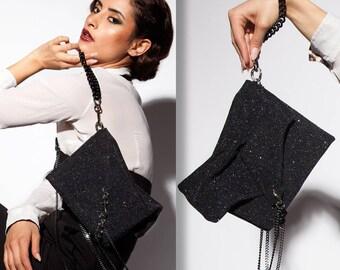 Black Leather Clutch  - Glitter Clutch - Elegant Clutch Purse - Luxury Pochette Bag - Evening Handbag - Gossip Girl - ENVELOPE CLUTCH