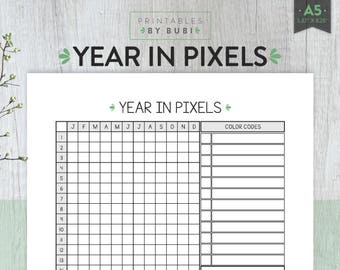 Mood Tracker, Year in Pixels, Mood Tracker Printable, Habit Tracker, Monthly Mood Tracker - Year Overview Daily Mood Chart, Life in Pixels,