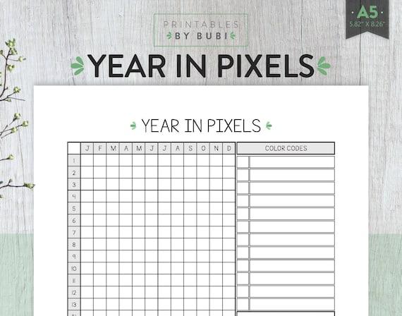 Mood Tracker Year In Pixels Mood Tracker Printable Habit
