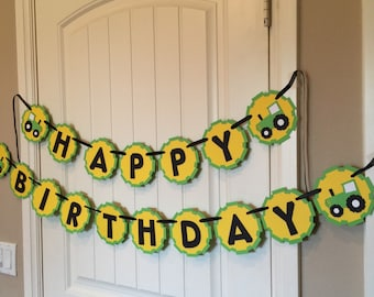 Tractor Happy Birthday banner, green, yellow, black, tractor tire