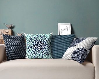 Teal Throw Pillows - Teal Navy Turquoise - Turquoise Pillow - 16 x 16, 18 x 18, 20 x 20, 24 x 24 inches