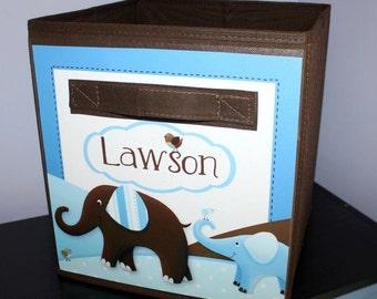 Blue Brown Elephant Fabric Bin Elephant Giraffe Monkey Personalized Bedroom Nursery Organizer for Toys or Clothing FB0034
