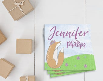 Kids Calling Cards- Fox Gift Tag- Playdate Business Card- Custom Child Cards- Personalized Play Date Card- Gift Enclosure