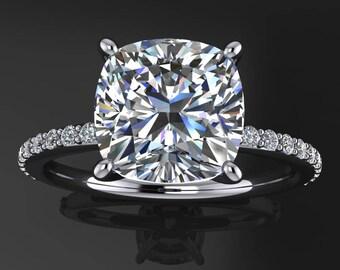 eliza ring - 2 carat cushion cut NEO moissanite engagement ring, diamond pave band
