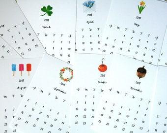 2018 desk calendar, 2018 calendar, watercolor calendar, desk calendar, easel calendar, original watercolor calendar