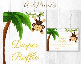 Diaper Raffle Printable Baby Shower Game, Jungle Baby Shower Diaper Raffle Card, Monkey Baby Shower Card, Instant Download Baby Shower Game