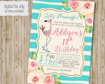 Skating Party, Floral Flamingo Birthday Invitation, Flamingo Invitation, Tropical, Floral, Shabby Chic, Boho, Girl Birthday Invitation