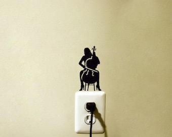 Cello Music Decal Vinyl Sticker Playing Instrument Light Switch Decor