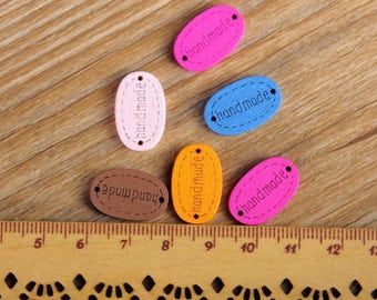 "30 PC Painted wood buttons 20mm - Wooden Buttons ,tree buttons, natural wood buttons ""handmade"" A072"