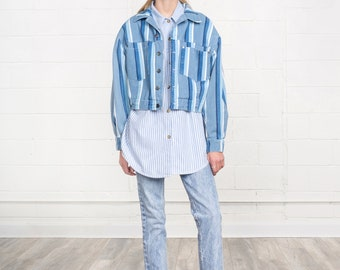 CROPPED DENIM JACKET crop jean jacket Stripes Blue White vintage woman U S A made usa / Small / Better Stay Together