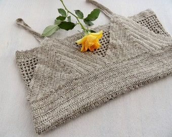 Hand Crochet Top - Tank Top - Crochet Camisole - Vest Top - Strappy Cotton Top -Summer Beach Top