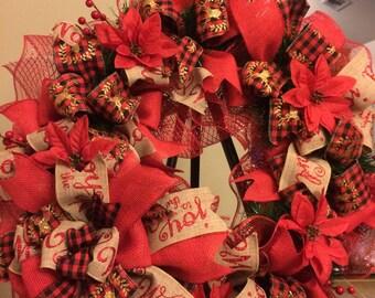 Holiday festive Christmas plaid poinsettia wreath