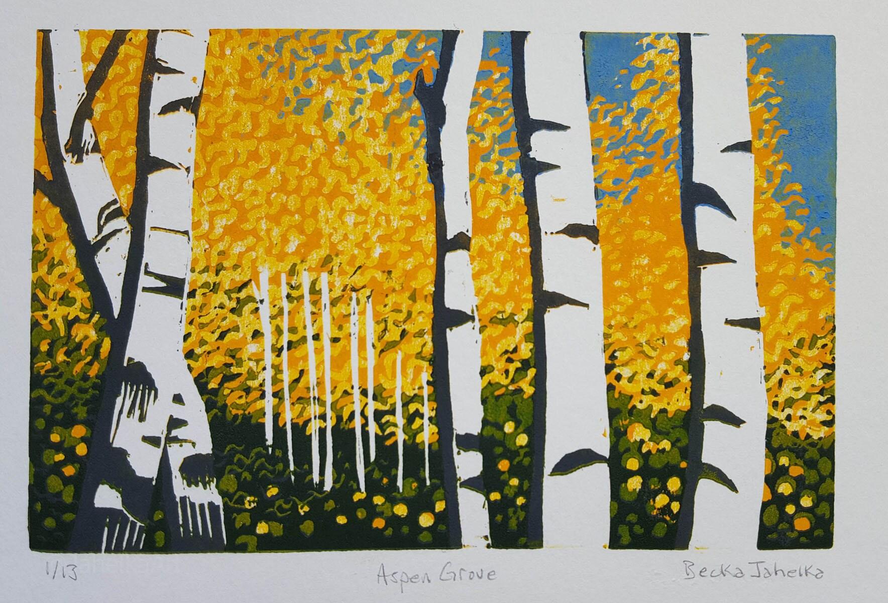 Aspen Grove Reduction Print linocut Colorado art