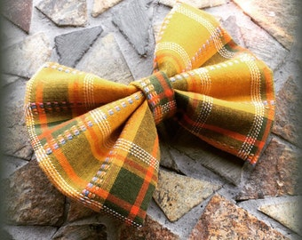 Plaid / Flannel / Madris Yellow Green Orange and White Fall Hair Bow Set of 2