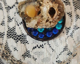 Agate and Barnacle Mermaid Necklace