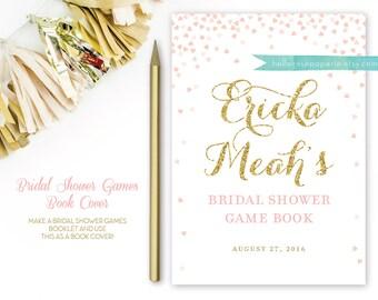 Pink and Gold Bridal Shower Book Cover for Games . Bridal Shower Games Booklet Cover Page . Printable Digital Download . Bridal Shower DIY