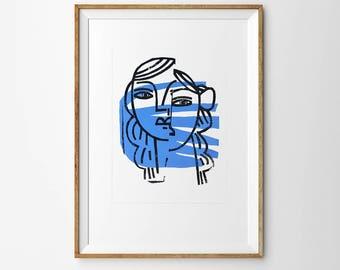 Original artwork. Linocut, gouache on paper. Persona. Shadow. Modern minimalist painting. Signed by artist. 50x70cm