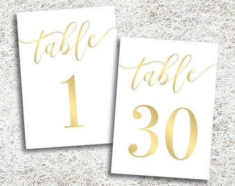 Printable Gold Wedding Table Numbers 1 - 30 | Instant Download | Printable Gold Table Numbers | Events | Banquet | Reception (FROST Set)