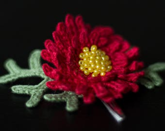 Red flower Chrysanthemum hair clip-unique girls hair decorations-sale-Hair accessories-Handmade-crochet flower-gift ideas-Gifts for her.