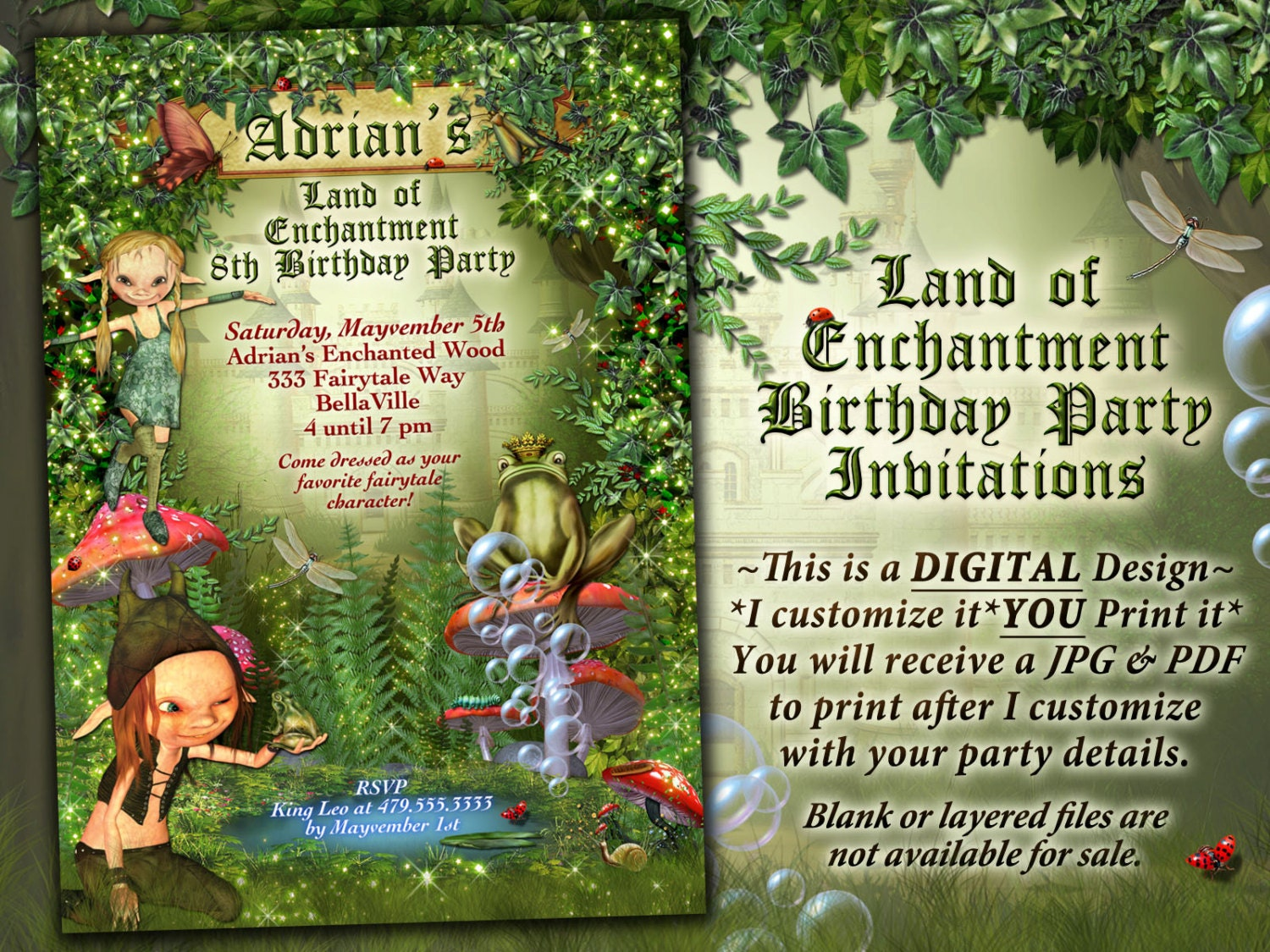 Fairytale Forest Party Enchanted Wood Invitation Frog Castle